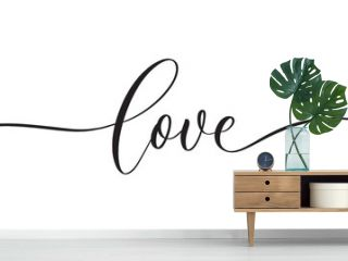 Love -  typography lettering quote, brush calligraphy banner with  thin line.