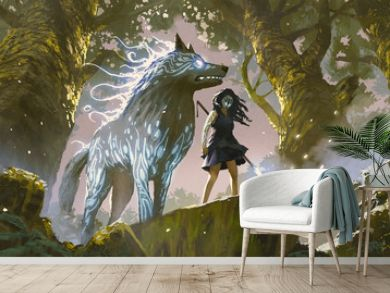 wild girl with her wolf standing in the forest, digital art style, illustration painting
