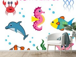 Cute colorful sea animals. Marine life. Ocean wildlife . Octopus, whale, seahorse, jellyfish,frog, turtle, crub, clown fish, sea star.
