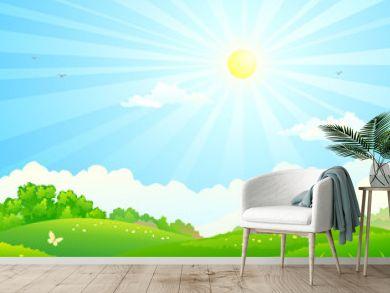 Vector cartoon illustration of green fields and sunny sky