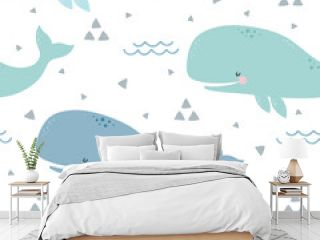 Whale Seamless Pattern, Cute Cartoon Background with Blue Wave