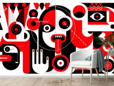 Red, black and white vector illustration of Group of Different People and A Bottle of Wine.