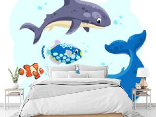 Sea animals in the sea. Cute shark, whale and fish. Vector illustration.