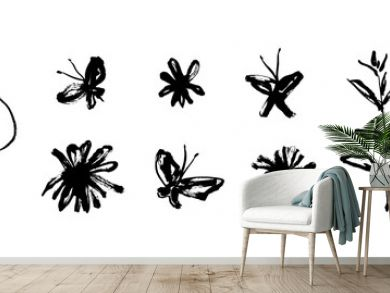 Grunge dirty decorative elements with flowers and butterflies isolated on white background. Hand drawn black vector collection, modern ink graphic art, expressive brush strokes
