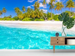 Tropical island paradise. Summer beach landscape, panoramic sea view with palm trees white sand. Luxury summer holiday travel and vacation. Vivid colors, relax beach concept. Nature tropic landscape