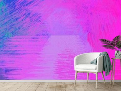 wide landscape graphic with artistic brush strokes background with neon fuchsia, light sea green and crimson. can be used for wallpaper, cards, poster or banner