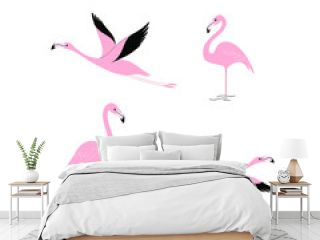 Cartoon flamingo icon set. Cute bird in different poses. Vector illustration for prints, clothing, packaging, stickers.