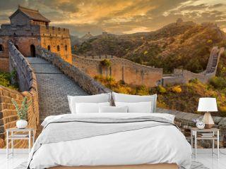 Beautiful sunset at the Great Wall of China