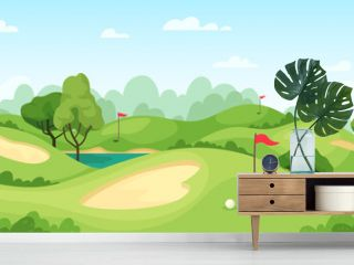 Golf course. Green landscape with flags and sand ground, golf cart on lawn, course for tournament game golf, cartoon vector background