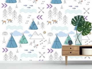 background with a childish ethnic pattern for boys