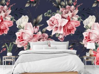 Seamless floral pattern with flowers on summer background, watercolor illustration. Template design for textiles, interior, clothes, wallpaper
