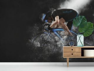 Man racing cyclist in motion on smoke background. Sports banner