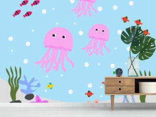Illustration Vector Graphic of Water World Jellyfish Undersea Cartoon
