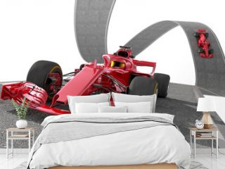 red f1 racecar on a wired track 2