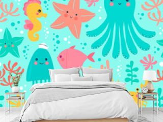 Vector illustration with marine life. Seamless pattern with octopus, fish, sea star, seahorse, jellyfish and water plants.