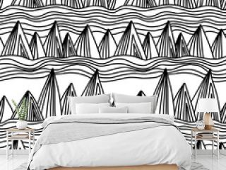 Cool modern seamless hand drawn geometric patterns. Vector abstract mountain illustration