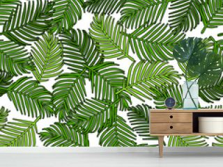 Palm leaves, green black outline, over white background, interlaced.