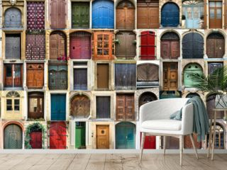 Creative collage with multitude of colorful ancient front house doors