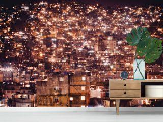View Of Rocinha Favela At Night, Rio De Janeiro, Brazil
