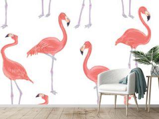 Vector realistic illustration set of pink flamingo bird