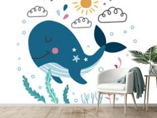 Whale. Funny character for kids