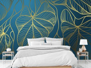 Luxury wall art background. Tropical line arts hand draw gold exotic floral and leaves. Design for packaging design, social media post, cover, banner, Gold geometric pattern design vector
