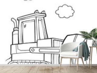 Bulldozer Construction Vector Illustration Art