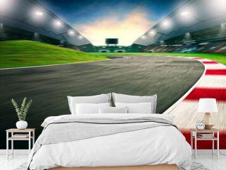 Evening scene asphalt international race track, digital imaging recomposition background.