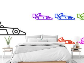 Black line Formula 1 racing car icon isolated on white background. Set icons colorful. Vector Illustration.