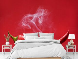 Red hot chili pepper on red background with smoke. Still life with steam mexican paprika spice.