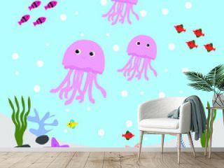 Illustration Vector Graphic of Water World Jellyfish Undersea Cartoon.