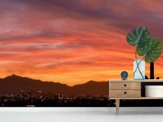 A vibrant sunset over Phoenix Arizona