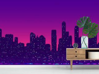 Futuristic cityscape night light