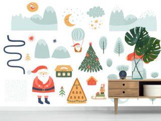 Winter hand drawn landscape creator. Christmas landscape elements set. Outdoor clipart. Houses, mountains, trees