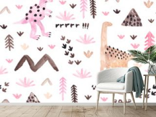 Childish seamless pattern with dinosaurs, trees and mountains. Watercolor texture for fabric, wrapping, textile, wallpaper, apparel. Hand drawn illustration.