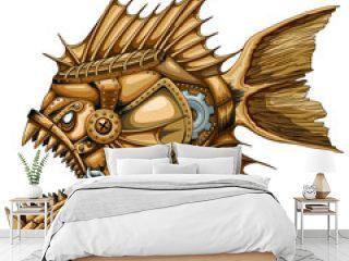 Steampunk Piranha Killer Retro Machine with Big Jaws Vector illustration isolated on white.