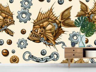 Steampunk Piranha Killer Retro Machine with Big Jaws Seamless Repeat Pattern Vector illustration
