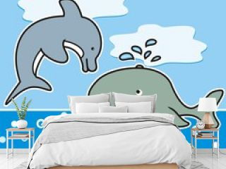 Sea life, dolphin, whale, fish and seahorse, funny vector illustration