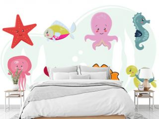 Sea life, sea animals set in a flat style isolated on a white background. Vector illustration. Cute cartoon animal collection: seahorse, star, octopus, turtle, fish, jellyfish, crab