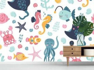 Sea life cute vector pattern. Vector illustration for kids design, wallpaper, wrapping, textile, package design.