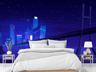 City skyline with buildings and bridge above lake or river at night. Vector cartoon landscape of sea, island with town skyscrapers on horizon, overpass highway, stones in water and stars in sky