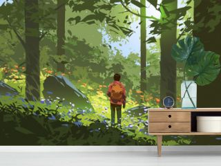 young man adventures in the deep forest, vector illustration