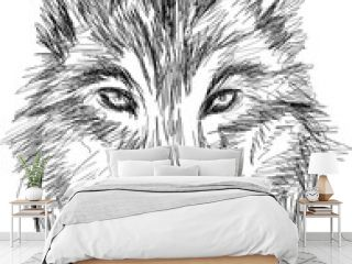 wolf portrait - hand drawn stylized vector sketch portrait
