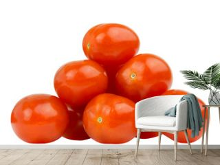 Row of tomatoes laid in a triangle shape. Heap of fresh tomatoes