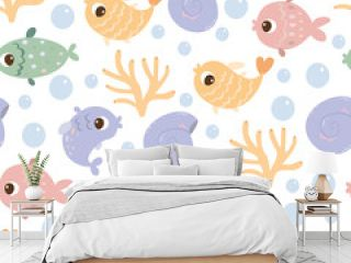 Cute underwater cartoon pattern with fish, shells and corals. Cruise.