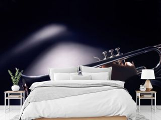Trumpet player playing jazz music instrument