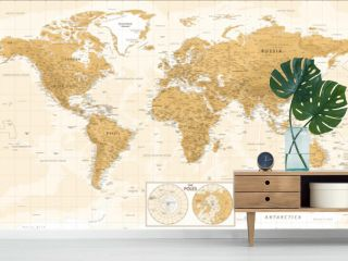World Map and Poles - Vintage Physical Topographic - Vector Detailed Illustration