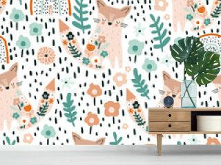 Seamless pattern with cute floral foxes, rainbows and hand drawn textures. Creative blooming texture. Great for fabric, textile Vector Illustration