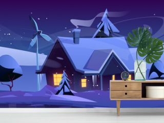Smart house with wind turbines at winter night. Eco friendly home, modern building on nature landscape with falling snow and trees. Renewable energy, organic architecture, Cartoon vector illustration