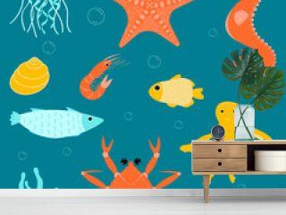 set sea inhabitants- starfish, seahorse, jellyfish, shrimp, octopus, crab, fish, shells and algae on a dark green background